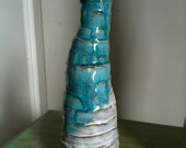 Hive 1...Small White and Turquoise Sculpture