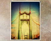Portland Photography St. Johns Bridge Colorful--Fine Art Lomography 8.5x11