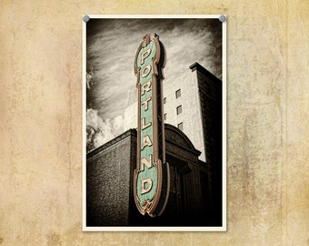 Portland Oregon Photography Sign Baby Blue--Fine Art Black and White Photography 8x12