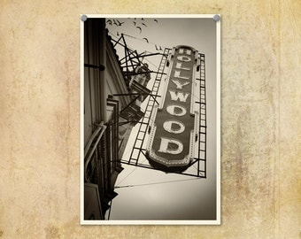 Portland Oregon Photo Hollywood Theater Black and White--Fine Art Photography 8x12