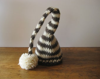 Crochet Baby Hat Wool Striped Elf Pixie Photo Prop Brown and ivory striped