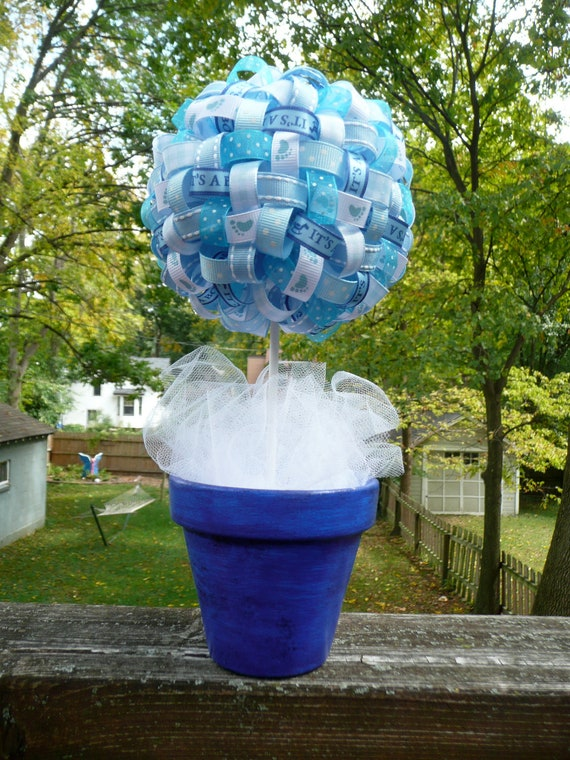 It s a boy baby blue ribbon centerpiece by thisgingercrafts