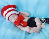 Dr. Suess Cat in the Hat Inspired Newborn Photo Prop Costume with Diaper Cover, Hat, and Bowtie