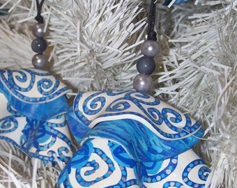 Painted Christmas Ornaments Blue White Silver Upcycled Record Spring Sale 25%OFF Coupon Code SPRING25