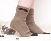 Women's socks with Mustache wool knitted brown black accessories winter europeanstreetteam gift for her christmas legwear