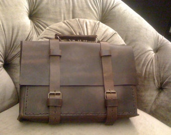 Leather Messenger Bag,Distressed Leather Bag,Custom Leather Briefcase, Mad Men Briefcase