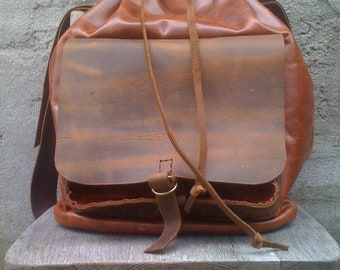 Stylish Travel Leather backpack/Handmade And Hand Stitched Bag In NYC