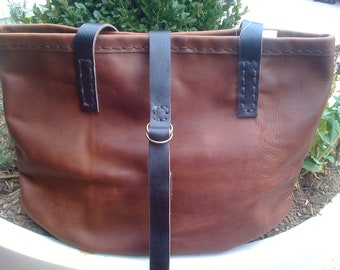 Leather Tote Bag - Brown Large Simple Ladies Everyday Manhattan Shopper - Unique Gift for Her