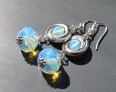 Opalite Beaded Earrings on the Sterling Silver  Ear Hooks / Sea Opal Glass Silver Dangle Earrings