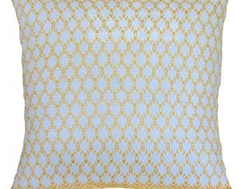 "Handwoven Swedish Weave Pillow ""Honeycomb"" Yellow"