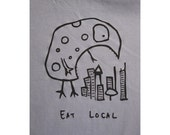 Eat Local Monster T shirt - American Apparel - Monster Eats City -  Slate - Mens/Womans S,M,L,XL