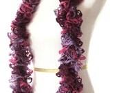 Pink & Purple Knit Ruffle Scarf