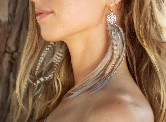 New Feather Earrings Boho Tibetan Infinity Knot Silver with Crystal Tribal Ethnic Navajo