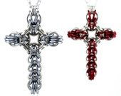 Celtic Style Cross Necklace - Large Chainmail Metal Crochet Cross Pendant for Men Women - Womens Mens Cross Necklace - Men's Cross Necklace