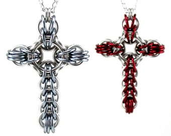 Celtic Style Cross Necklace - Large Chainmail Metal Crochet Cross Pendant for Men Women - Womens Mens Cross Necklace - Men's Cross Necklace