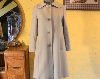 Pale Sand Wool Winter Coat Wide Peter Pan Collar M