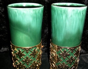 Vases or Candle Holders in Gold Filigree Stands