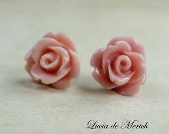 Rose Post Earrings. Lipstick Pink. Gift For Her. Bridal Gift. Wedding -  Mother Day  Gift -Coupon code.