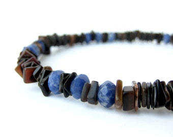 "Mens Jewelry, men's beaded necklace, surfer jewelry for men handmade from blue sodalite & black pen shell. ""Ol' Blue Eyes"""