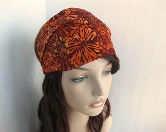 Autumn Batik Head Wrap Womens Gypsy Headband Bandana Orange Burgundy Red Mums Fall Harvest Colors Hair Accessory Womens Gift for Her