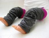 Slate Gray Textured Baby Leg Warmers