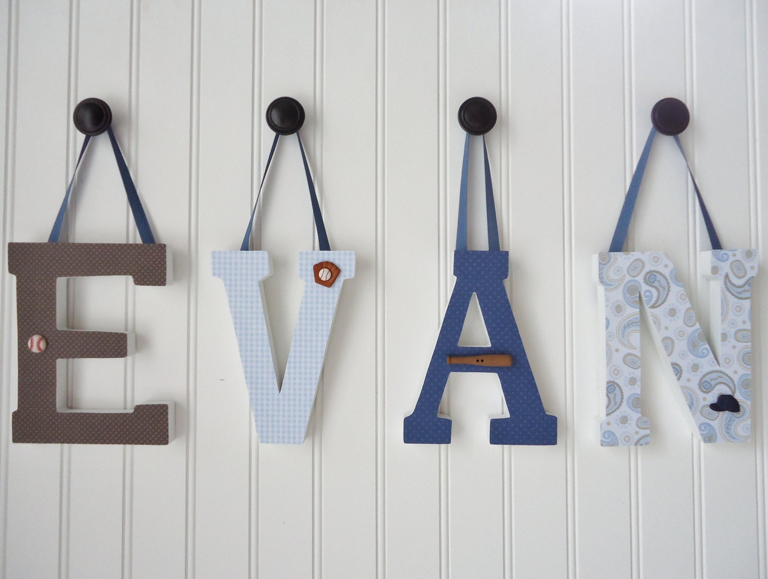 Items similar to wall letters nursery wall decor wooden letters custom name nursery art boy - Wood letter wall decor ...
