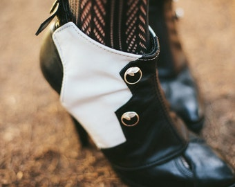 Zelda-Bold Black and White Leather Spats with Buttons