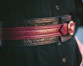 Women's leather belt -Floral embossed leather with brass buckle-Leta