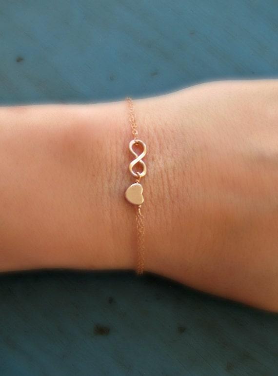 rose gold infinity and heart bracelet by vintagestampjewels. Black Bedroom Furniture Sets. Home Design Ideas