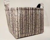 Large Fabric Basket Organizer Bin Storage Container-Birch Trees with Black Interior - TheBasketGarden