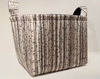 Large Fabric Storage Basket Bin Organizer Storage Container-Birch Trees with Black Interior