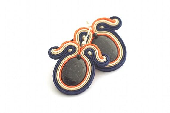 Deep Blue Earrings, Soutache Earrings, Hand Embroidered Navy Blue Beige Earrings Soutache, Soutache Jewelry, sterling silver studs