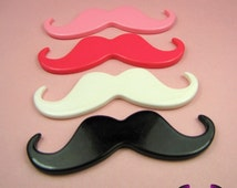 4 pcs XL HANDLEBAR MUSTACHES Resin Decoden Flatback Kawaii Cabochons 77mm in Black, White, and Light and Dark Pink