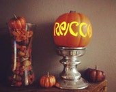 Small Personalized Pumpkin with flameless candle