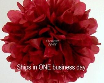 Maroon Tissue Paper Pom Pom - 1 Medium Pom - 1 Piece - Ships within ONE Business Day