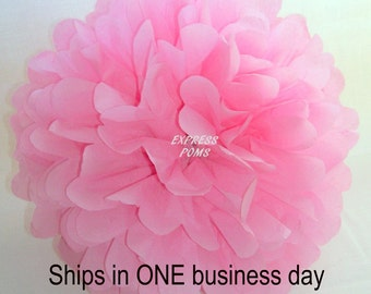 Pink Tissue Paper Pom Pom - 1 Medium Pom - 1 Piece - Ships within ONE Business Day