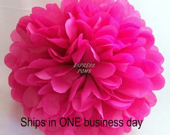 Magenta Tissue Paper Pom Pom - 1 Medium Pom - 1 Piece - Ships within ONE Business Day