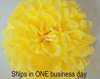 Yellow Tissue Paper Pom Pom - 1 Large Pom - 1 Piece - Ships within ONE Business Day