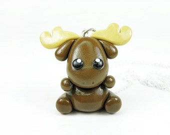 Kawaii Brown Moose Charm Necklace Pendant Jewelry Polymer Clay