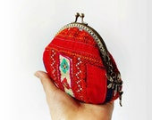 Coin purse / Hill tribe coin purse/ Embroidered hill tribe textile purse / Metal frame purse