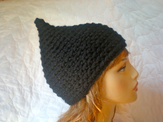 Pixie Hat, Handmade crocheted, Adult/ teen, unisex, seamless pointed hat in black