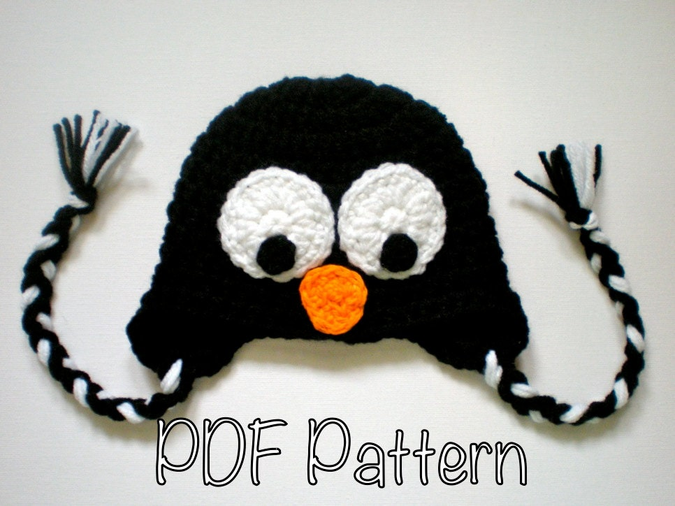 PATTERN: Penguin hat size Newborn to Adult baby kid animal