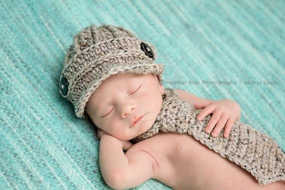 Newborn baby boy hat, newsboy hat and neck tie set, baby newsboy hat, brim hat, baby boy coming home outfit, newborn boy clothes