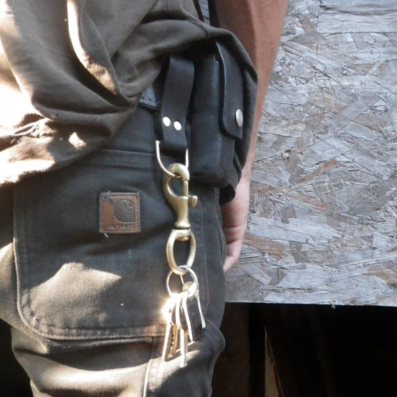 Recycled Leather Belt Loop Key Ring