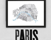 Paris Fontmap - Limited edition typographic map digital print, 420x297mm