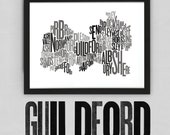 Guildford Font Map. Limited Edition Digital Print, 420x297mm