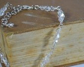 Clear crystal silver wire wrapped bracelet Handmade by Beadtriss Lane Ready to SHIP bridal formal