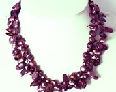 Pearl Necklace - 34 inches-7-8mm, Red Wine Freshwater Pearl Necklace- Free shipping