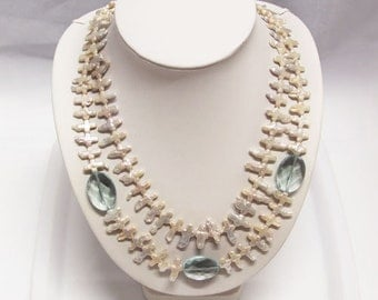 Unique Double strands cross shape pearl necklace-20 inch- FreeShipping
