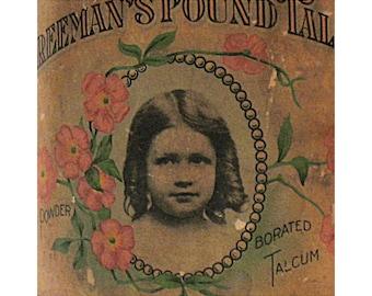 Antique Freeman's Talcum Powder Tin - Advertising Tin - The Freeman Perfume Co - Cincinnati Ohio - Circa 1916 - Paper Label - Portraiture